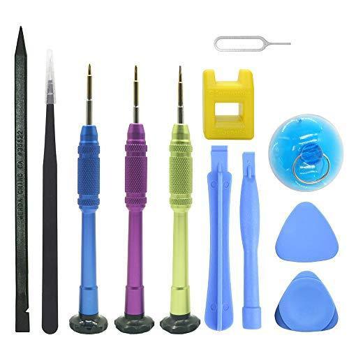 Cemobile Kit de herramientas de reparación para iPhone, kit de destornilladores con herramientas de apertura para iPhone X/8/8 Plus/7/7Plus/6S Plus/6S/6 Plus/6/SE/5S/5/5C/4S/4, iPod,iTouch (13 unids)