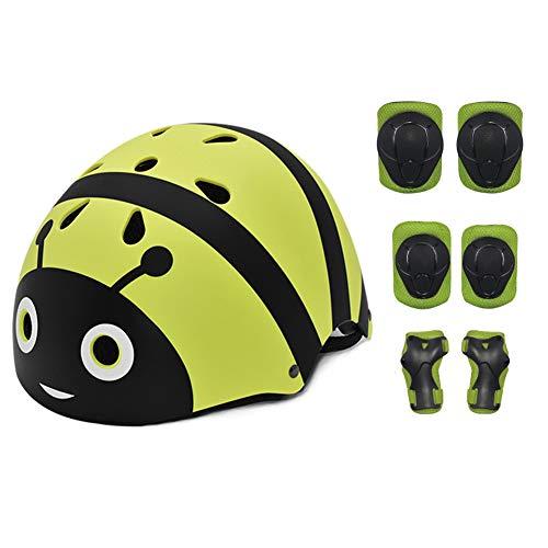 QIUBD Casque Vélo Enfant Kit De Protections 7 Pièces Casque De BMX Pads Genouillères De Coude avec des Protège-Poignets pour Patin, Vélo, Skateboard, Scooter (Yellow)