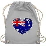 Shirtracer Fußball-Europameisterschaft 2020 - Australien Vintage Herz - Unisize - Hellgrau - WM110 - Turnbeutel und Stoffbeutel aus Bio-Baumwolle