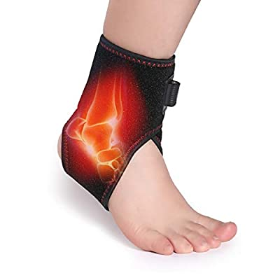 MudunHealth Heated Ankle Brace Breathable Heating Ankle Support Heat Therapy with 5 Level Temperature 4.9 Feet USB Cable, Ankle Sprain Wrap for Pain Relief, for Arthritis and Torn Tendons
