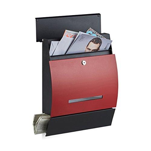 Relaxdays Design Briefkasten mit Zeitungsfach, Pulverbeschichtet, HxBxT: 45 x 35 x 11 cm, Wandbriefkasten, schwarz-rot