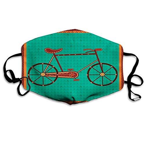 Olive Croft Gesichtsschal Mundschild Design eines Fahrrads in ethnischen asiatischen Desi Art Folkloric Framework