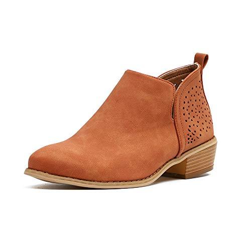 Botines Mujer Planos Tacon PU Cuero Botas Chelsea Ancho Ante Piel Casual Zapatos Invierno Moda Ankle Boots 2.5CM Negros Beige Marrón 35-43 EU