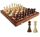 Tablero de ajedrez de madera plegable, Juegos de la computadora portátil Chess para adultos y niños, con almacenamiento interior, Juguetes educativos ideales Ajedrez de viaje ( Size : 45x45x3.8cm )