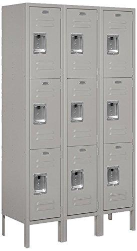 Salsbury Industries 63352GY-U Triple Tier 36-Inch Wide 5-Feet High 12-Inch Deep Unassembled Standard Metal Locker, Gray