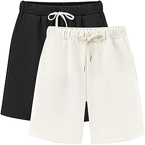 Sobrisah Casual Drawstring Elastic Waist Knee-Length Cotton Knit Shorts for Women Black White Tag 6XL-US 20