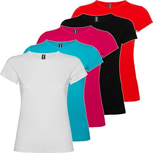 Pack 5 | Camiseta Mujer Algodón | Manga Corta | Corte Entallado (5 Colores, M)