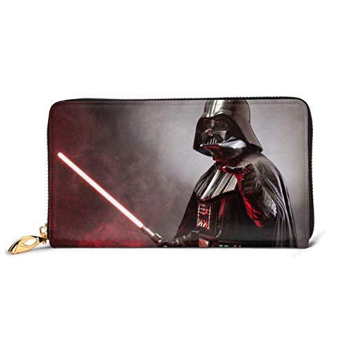 Lsjuee Darth Vader Geldbörse RFID-Blockierung Echtes Leder Geldbörse Reißverschluss um Kartenhalter Organizer Clutch
