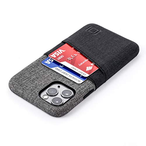 Dockem iPhone 11 Pro Wallet Case: Built-in Metal Plate for Magnetic Mounting & 2 Credit Card Holder Slots (5.8 Luxe M2 Synthetic Leather, Black and Grey)