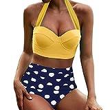 LANSKIRT Bañador Estampado de Cintura Alta para Mujer Bikini de Estilo Étnico Traje de Baño...