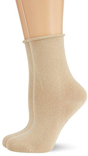 Hudson Damen Socken mit Rollrand, 025101 Only, 2er Pack, Gr. 39/42, Beige (Sisal 0783)