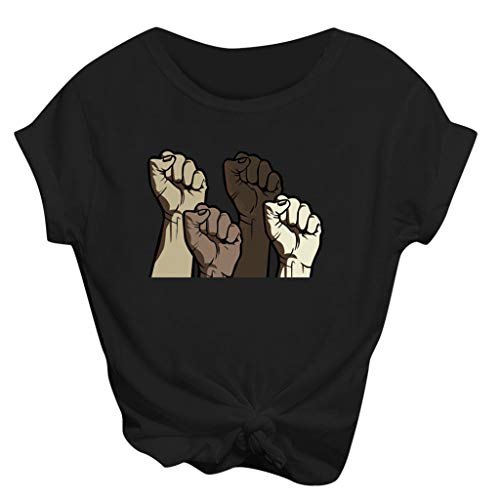 Tops for Women Plus Size T-Shirts 2020 Fashion Short Sleeve 3D Fist Printed Protest O-Neck Tops Tee T-Shirt Blouse