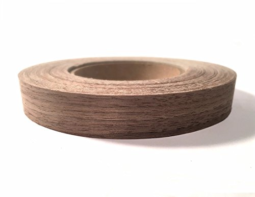 """Edge Supply Walnut 3/4"""" X 50' Roll of Plywood Edge Banding – Pre-glued Real Wood Veneer Edging – Flexible Veneer Edging – Easy Application Iron-on Edge Banding for Furniture Restoration – Made in USA"""