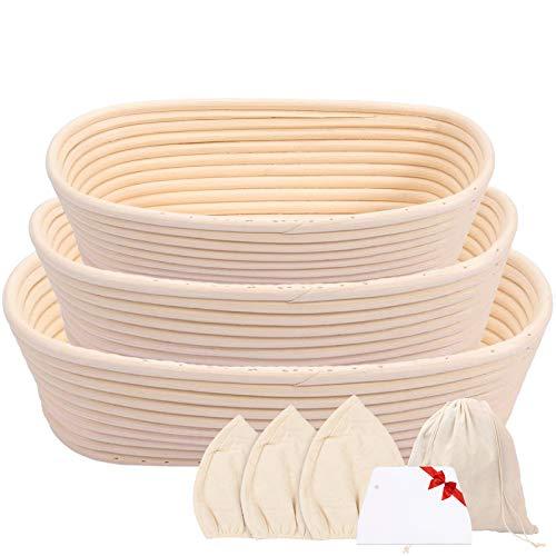 Gesentur Gärkörbchen Oval, 3 Gärkörb für Brot Backen, Natürlichem Peddigrohr (Oval | 22, 25, 28cm) mit Leineneinsatz, Teigschaber, Brottasche