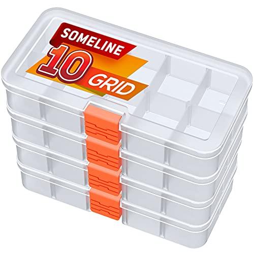 SOMELINE Kunststoff Aufbewahrungsbox Sortimentsboxen für Kleinteile Perlen Ohrringe Schmuckkasten Einstellbar Sortierbox 4 Stück10 Gitter