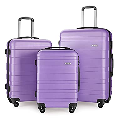 Luggage Set Spinner Hard Shell Suitcase Lightweight Carry On - 3 Piece (20  24  28 ) (Light pur)