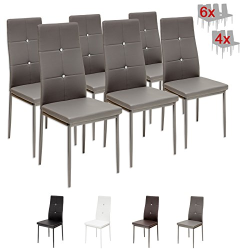 Albatros 3100 Diamond Set de 6 sillas de Comedor, Gris, SGS Tested