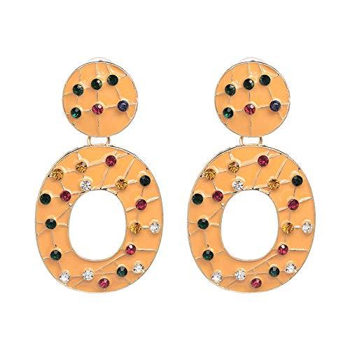 banquete de boda accesorios de la joyería,Pendientes de la joyería, accesorios de aretes de vidrio taladro 6 colores @ naranja