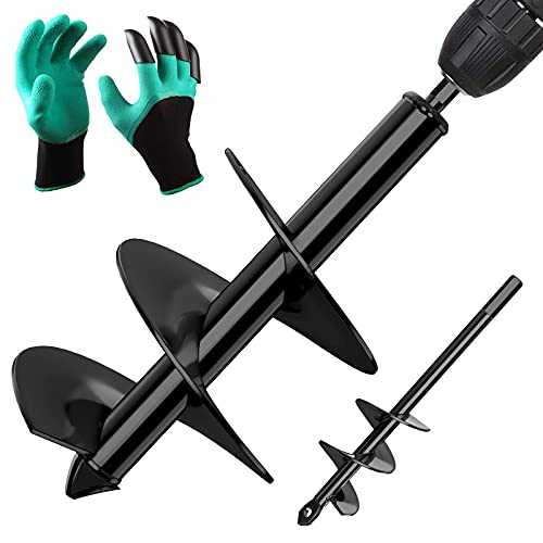 BLIKA 4' x 12' and 1.6' x 9' Auger Drill Bit for Planting, 2 Pcs Black Garden Auger Set, Plant Flower Bulb Auger with Garden Genie Gloves, Bulb Bedding Digging Post Hole Planting Tool Earth Auger