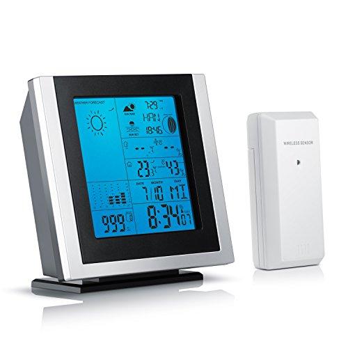 Brandson Funk Wetterstation inkl. Außensensor - LED Displaybeleuchtung - Innen und Außentemperatur - Hygrometer - Wecker UVM.