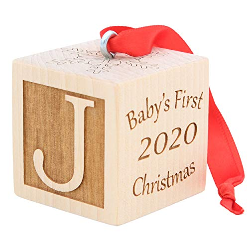 Baby's First Christmas Ornament, Choose from 3 Sizes, Personalized Christmas Wooden Block, Laser Engraved Wooden Baby Block (2