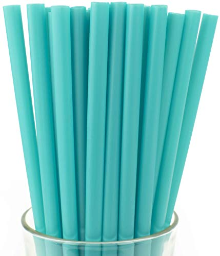 Made in USA Pack of 250 Jumbo Teal (10' X 0.28') Individually Wrapped Plastic Smoothie Drinking Straws (FDA-approved, Non-toxic, BPA-free)