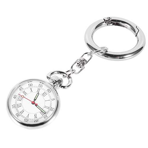Tomaibaby Enfermera Reloj de Bolsillo Acero Inoxidable Enfermera Solapa Pin Reloj Médicos Relojes de Bolsillo Enfermera Reloj Llavero Fob Reloj con Llavero para Regalo de Enfermera (Plata)