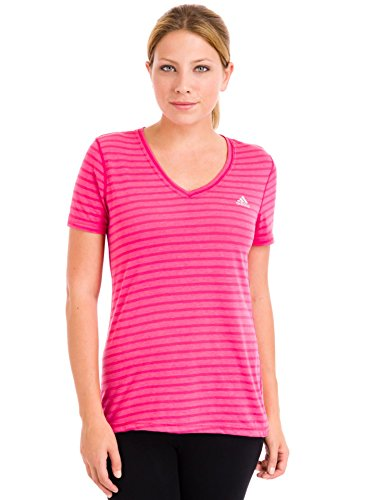 adidas Performance Women's Ultimate Short-Sleeve V-Neck Tee, Small, Bold Pink/Pink Buzz