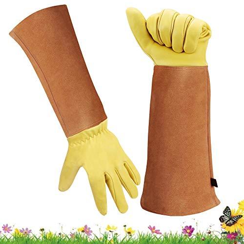 Gartenhandschuhe für Damen und Herren – dornsicheres Ziegenleder – Ellenbogenlänge Lange Stulpen für Hände und Unterarmschutz (Medium, Gelb)