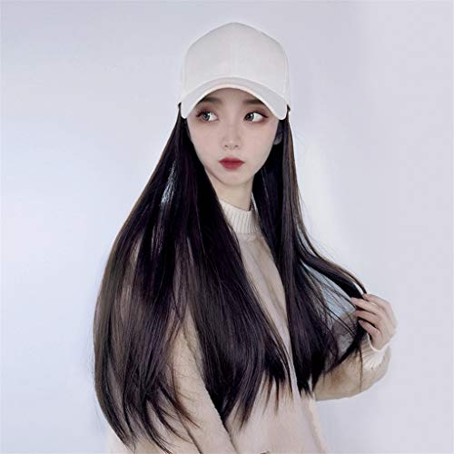 Hat Wig Baseball Cap Hair Extension Wig High Temperature Fiber Long Straight Hair Suitable For Women Of All Skin Tones YSM9077-B-2