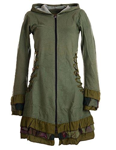 Vishes – Alternative Bekleidung – Elfenmantel aus Baumwolle mit Zipfelkapuze und Rüschen zum Schnüren Olive 40