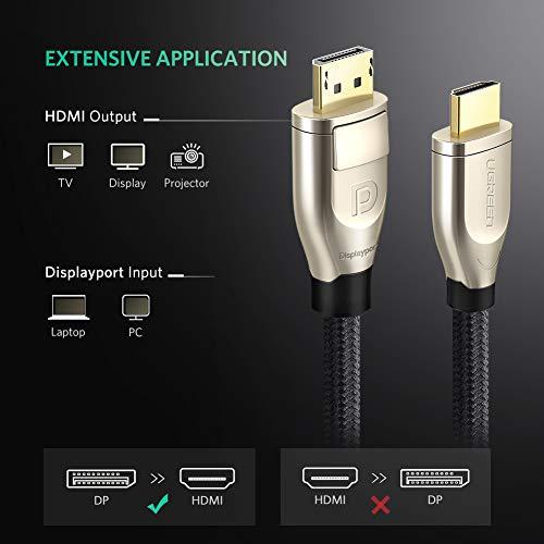 UGREEN Displayport auf HDMI 2.0 DP zu HDMI Kabel 2M UHD 4K hdmi 2.0 HDTV Kabel unterstützt für HP EliteBook, HTC Vive Virtual Reality System, Grafikkarte, PC, Monitor und DP Geräte 2m