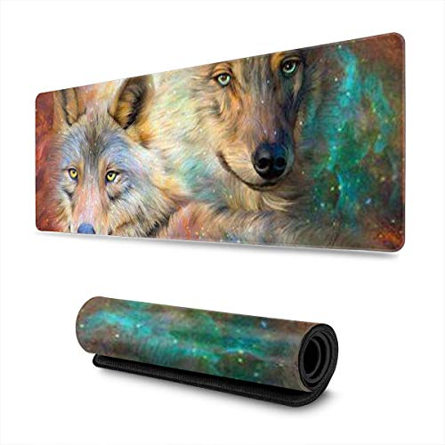Oil Painting Wolves Design Pattern XXL XL Large Gaming Mouse Pad Mat Long Extended Mousepad Desk Pad Non-Slip Rubber Mice Pads Stitched Edges (31.5x11.8x0.12 Inch)
