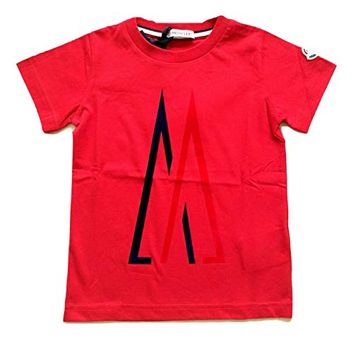 Moncler Junior Maglia t-Shirt con Logo Bambino Bimbo Neonato 8023750 Blu - Bianco - Rosso