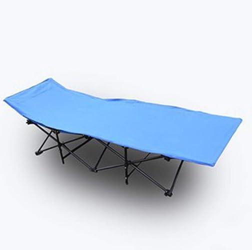 Lit De Camping Pliant Simple avec Tube en Acier pour La Randonnée, Le Camping, Le Sac à Dos (Bleu)