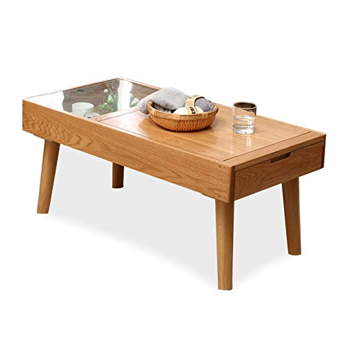 Mesa de Centro Madera estilo japonés mesa de café con 1 cajón y caja de almacenamiento for la sala de estar, mesa de TV, cristal rectangular Mesa for sofá, mesa funcional sólido elegante, fácil montaj