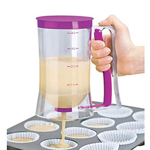 YXZQ Distributeur de pâte à crêpes Outil de Cuisson Parfait pour Cupcakes Gaufres Muffin Mix Crepes Cake ou Tout Produit de Boulangerie Ustensiles de Cuisson avec étiquette de Mesure