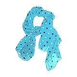 WJJSXKA Bufandas para mujer Bufandas ligeras de moda Estampado floral Bufanda Chal Wraps, Corazón Patern Azul