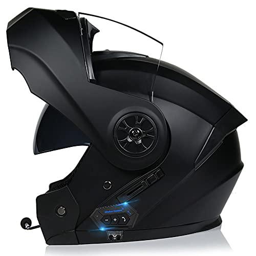Casco De Moto Modular Bluetooth Integrado Cascos Masculinos Y Femeninos con Función De Respuesta Automática con Certificación Dot ECE con Gafas De Protección Solar Dual 55-62CM