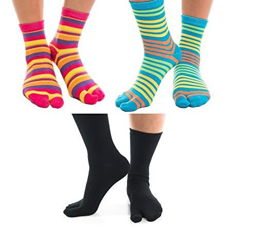 V-Toe Flip-Flop Socks Stripedand Black Solid Novelty Fun Kids, Adults 3 pairs Two Toe Tabi Socks