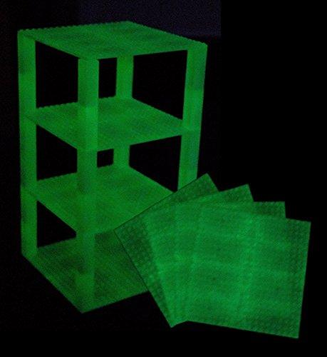 Strictly Briks Stapelbare Bauplatten mit 2x2-Bausteinen - kompatibel mit Allen großen Marken - Set aus 4 Platten - je 6