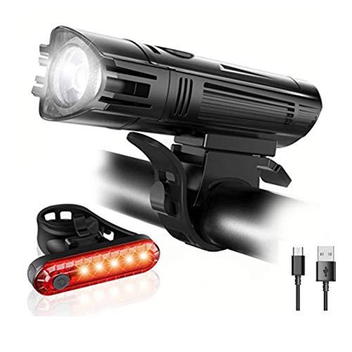 NIAGUOJI Fahrradlicht-Set, USB wiederaufladbar, wasserdicht, mit 380 lm Frontlicht und 180 lm Rücklicht (4 Leuchtmodi, Lithium-Akku, 2 USB-Kabel und rutschfeste Halterungen)