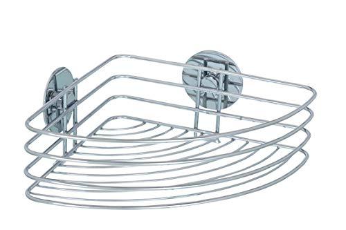 WENKO Turbo-Loc® Eckablage - Befestigen ohne bohren, Stahl, 26.5 x 10.5 x 20 cm, Chrom