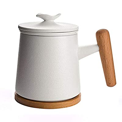 JiaBei Wooden Handle Ceramic Tea Mug with Infuser and Lid,Boxed Set,350ml Tea Cup for Steeping, Tea Lover, Gift, Home, Office (Matte White)