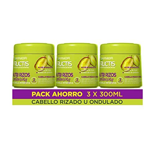 Garnier Fructis Nutri Rizos Mascarilla Capilar Pelo Rizado u Ondulado - Pack de 3 x 300 ml