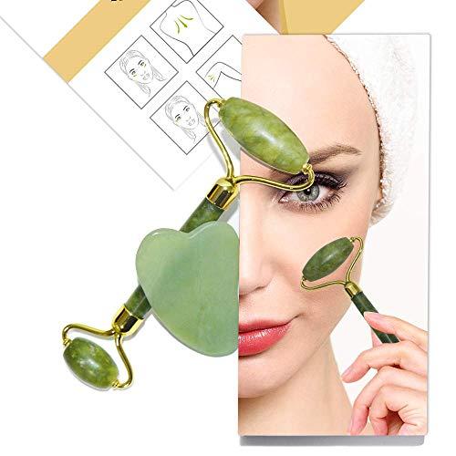 Nudic Jade Roller fabricado con 100% piedras naturales de cuarzo antienvejecimiento para adelgazamiento facial, curación, rejuvenecimiento con gua sha carping masaje juego de herramientas dise