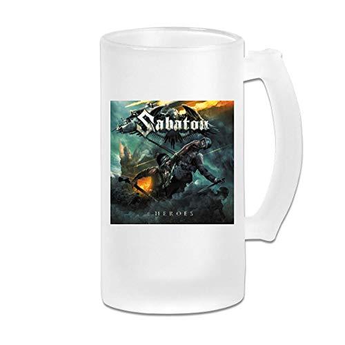 Taza de jarra de cerveza Stein de vidrio esmerilado impresa de 16 oz - Sabaton World War Live Battle Of The Baltic Sea 2 - Taza gráfica