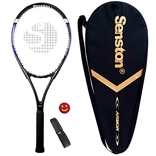 Senston Raqueta de Tenis Moldura de Una Pieza,Unisex,Incluido Bolsa de Tenis/1 Grip/1 Amortiguadores