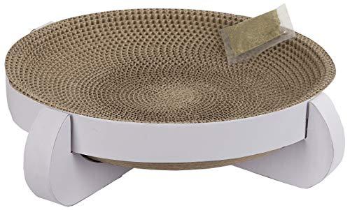 Kerbl 81555 Kratzbett Platinum aus Pappe mit Catnip 35 x 35 x 10 cm, weiß