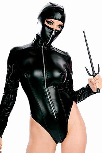 GaoZh Piel Sintética Sexy para Mujer, Aspecto Húmedo Similar Al Látex, Traje Negro Ninja Sexy Cremallera De Cuero Siamés De Charol PVC, Fetiche, Carnaval (Varios)